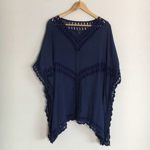 Lane Bryant Blue Crochet Lace Pullover Top